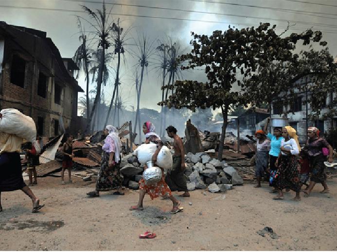 Mass destruction continues in Myanmar's Rakhine