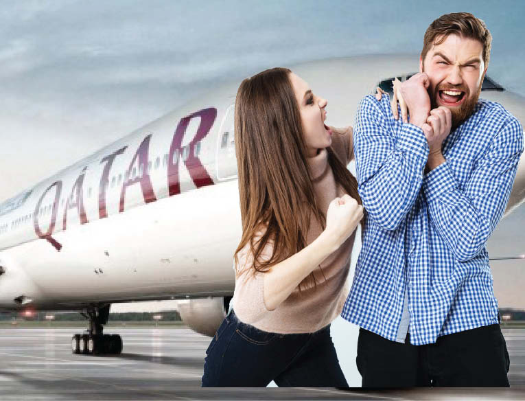 Qatar Airways forced to make an emergency landing after a furious wife discovered her husband's affair mid-flight.