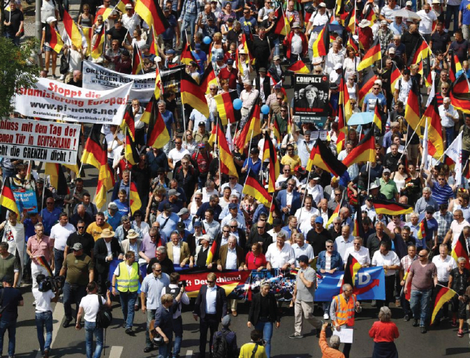 Germany's far-right supporters outnumbered by protesters in Berlin