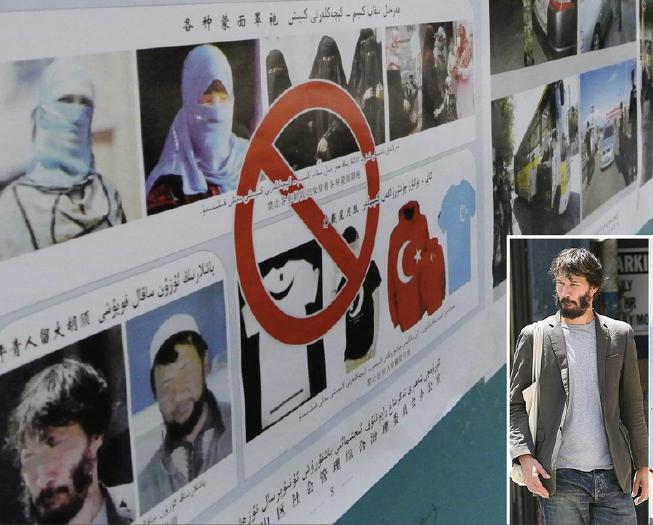 Keanu Reeves spotted in Chinese anti-Muslim propaganda poster in Xinjiang