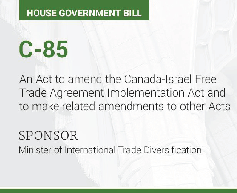 Bill C-85 and its implications On Palestine