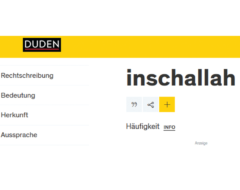 'Inshallah' included in German dictionary